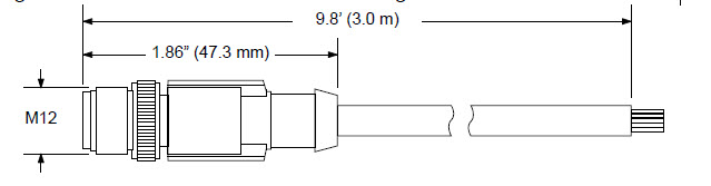 MD-CS630-000 12-pin M12 A-coded (Male) to flying leads